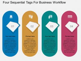 Four Sequential Tags For Business Workflow Flat Powerpoint Design