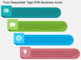 Four Sequential Tags With Business Icons Flat Powerpoint Design
