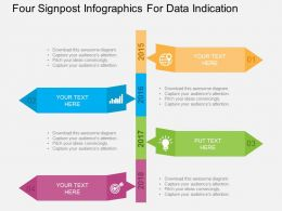 Four Signpost Infographics For Data Indication Flat Powerpoint Design