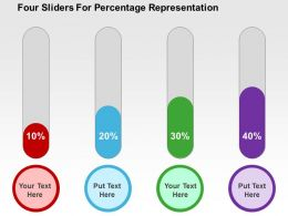Four Sliders For Percentage Representation Flat Powerpoint Design