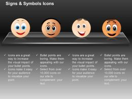 Four Smiliey Happiness Joy Indication Ppt Icons Graphics
