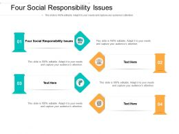 Four Social Responsibility Issues Ppt Powerpoint Presentation Visual Aids Portfolio Cpb