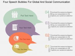 Four Speech Bubbles For Global And Social Communication Flat Powerpoint Design