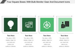 Four Square Boxes With Bulb Monitor Gear And Document Icons