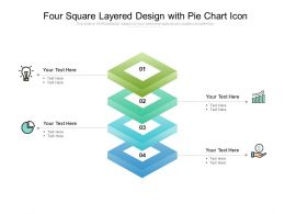 Four Square Layered Design With Pie Chart Icon