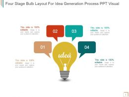 Four Stage Bulb Layout For Idea Generation Process Ppt Visual