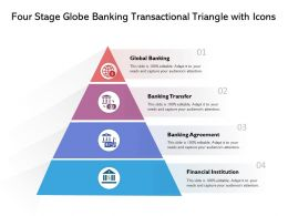 Four Stage Globe Banking Transactional Triangle With Icons