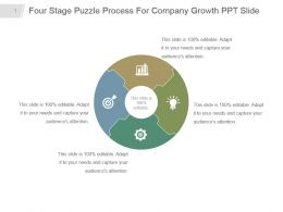 Four Stage Puzzle Process For Company Growth Ppt Slide