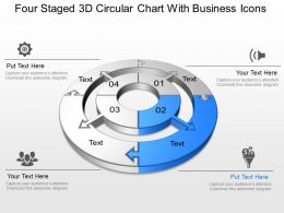 Four Staged 3d Circular Chart With Business Icons Powerpoint Template Slide