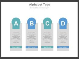 Four Staged Alphabet Tags For Business Information Flat Powerpoint Design