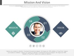 Four Staged Arrow Cycle Diagram For Mission And Vision Powerpoint Slides