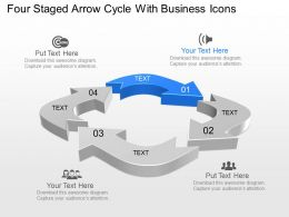 Four Staged Arrow Cycle With Business Icons Powerpoint Template Slide