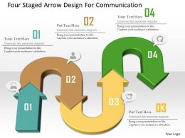 Four Staged Arrow Design For Communication Powerpoint Template