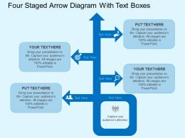 four_staged_arrow_diagram_with_text_boxes_flat_powerpoint_design_Slide01