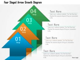Four Staged Arrow Growth Diagram Powerpoint Template