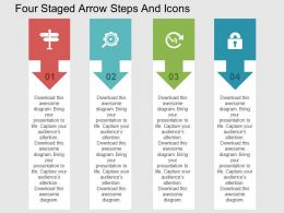 Four Staged Arrow Steps And Icons Flat Powerpoint Design