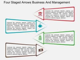 Four Staged Arrows Business And Management Flat Powerpoint Design