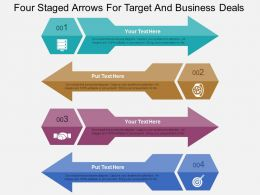 Four Staged Arrows For Target And Business Deals Flat Powerpoint Design