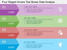 Four Staged Arrows Text Boxes Data Analysis Flat Powerpoint Design