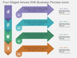 Four Staged Arrows With Business Process Icons Flat Powerpoint Design