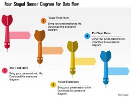 Four Staged Banner Diagram For Data Flow Flat Powerpoint Design