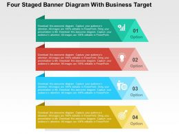 Four Staged Banner Diagram With Business Target Flat Powerpoint Design