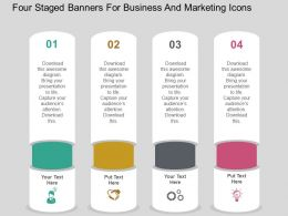 Four Staged Banners For Business And Marketing Icons Flat Powerpoint Design