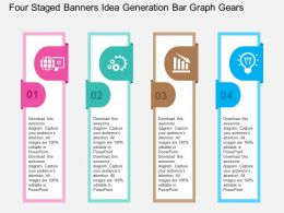 Four Staged Banners Idea Generation Bar Graph Gears Flat Powerpoint Design