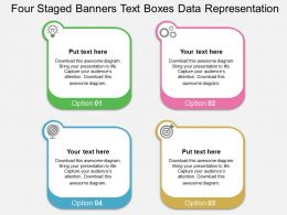 Four Staged Banners Text Boxes Data Representation Flat Powerpoint Design