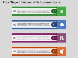 Four Staged Banners With Business Icons Flat Powerpoint Design
