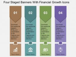 Four Staged Banners With Financial Growth Icons Flat Powerpoint Design