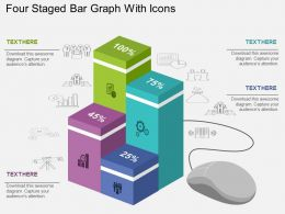 Four Staged Bar Graph With Icons Flat Powerpoint Design