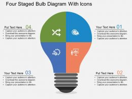 Four Staged Bulb Diagram With Icons Flat Powerpoint Desgin