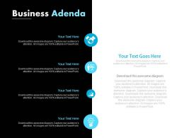Four Staged Business Agenda Icons Diagram Powerpoint Slides