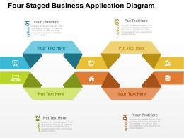 Four Staged Business Application Diagram Flat Powerpoint Design