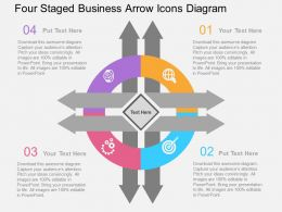 Four Staged Business Arrow Icons Diagram Flat Powerpoint Design