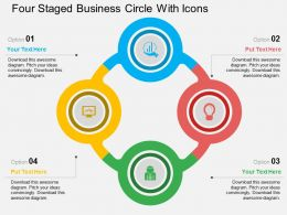 Four Staged Business Circle With Icons Flat Powerpoint Design