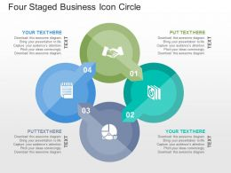 Four Staged Business Icon Circle Flat Powerpoint Design
