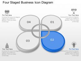 Four Staged Business Icon Diagram Powerpoint Template Slide