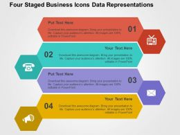 Four Staged Business Icons Data Representations Flat Powerpoint Design