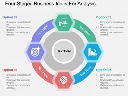 Four Staged Business Icons For Analysis Flat Powerpoint Design