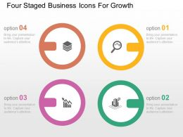 Four Staged Business Icons For Growth Flat Powerpoint Design