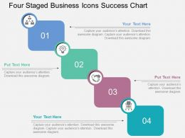 Four Staged Business Icons Success Chart Flat Powerpoint Design
