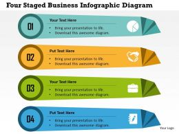 Four Staged Business Infographic Diagram Flat Powerpoint Design