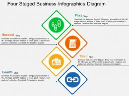 Four Staged Business Infographics Diagram Flat Powerpoint Design