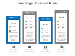 Four Staged Business Model Diagram With Checklist Powerpoint Slides