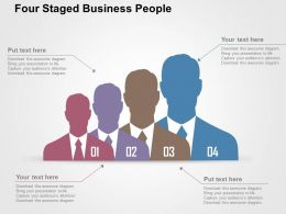 Four Staged Business People Flat Powerpoint Design