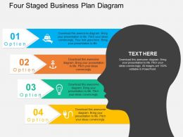 Four Staged Business Plan Diagram Flat Powerpoint Design
