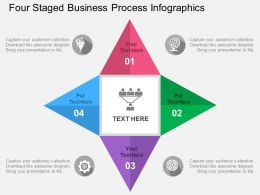 Four Staged Business Process Infographics Flat Powerpoint Design