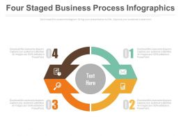 Four Staged Business Process Infographics Powerpoint Slides